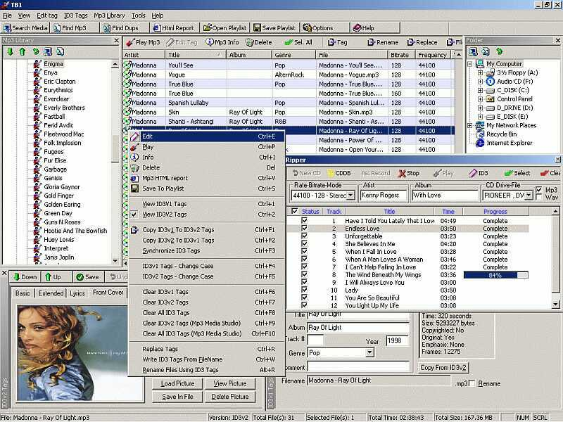 ID3 tag editor, Mp3 Organizer, playlist,add lyrics/photos to Mp3