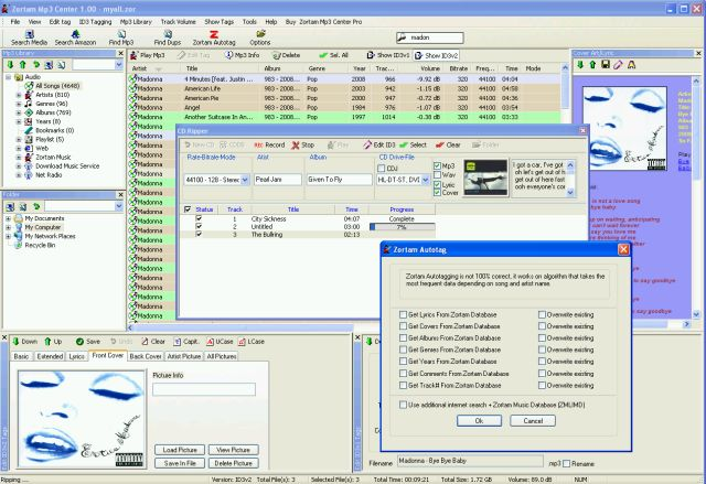 Screenshot of Zortam Mp3 Center 2.50