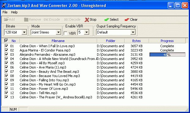 Click to view Zortam Mp3 And Wav Converter 4.00 screenshot